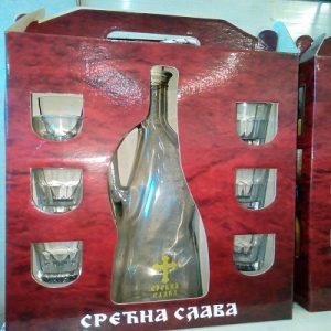 slavski set flasa i 6 casica za rakiju